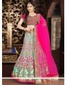 Fetching Hot Pink And Turquoise Embroidered Work Art Silk Lehenga Choli