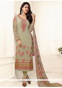 Customary Faux Georgette Beige Embroidered Work Churidar Designer Suit
