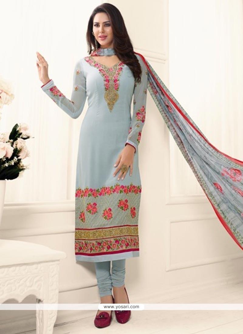 Magnetic Faux Georgette Blue Churidar Designer Suit