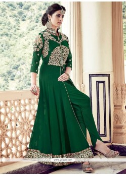 Superb Faux Georgette Embroidered Work Designer Floor Length Suit