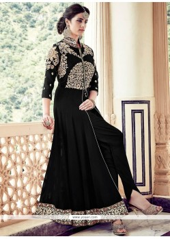Fab Black Designer Floor Length Suit