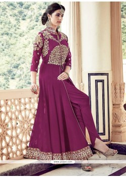Mystical Faux Georgette Magenta Designer Floor Length Suit