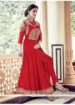 Best Faux Georgette Embroidered Work Designer Floor Length Suit