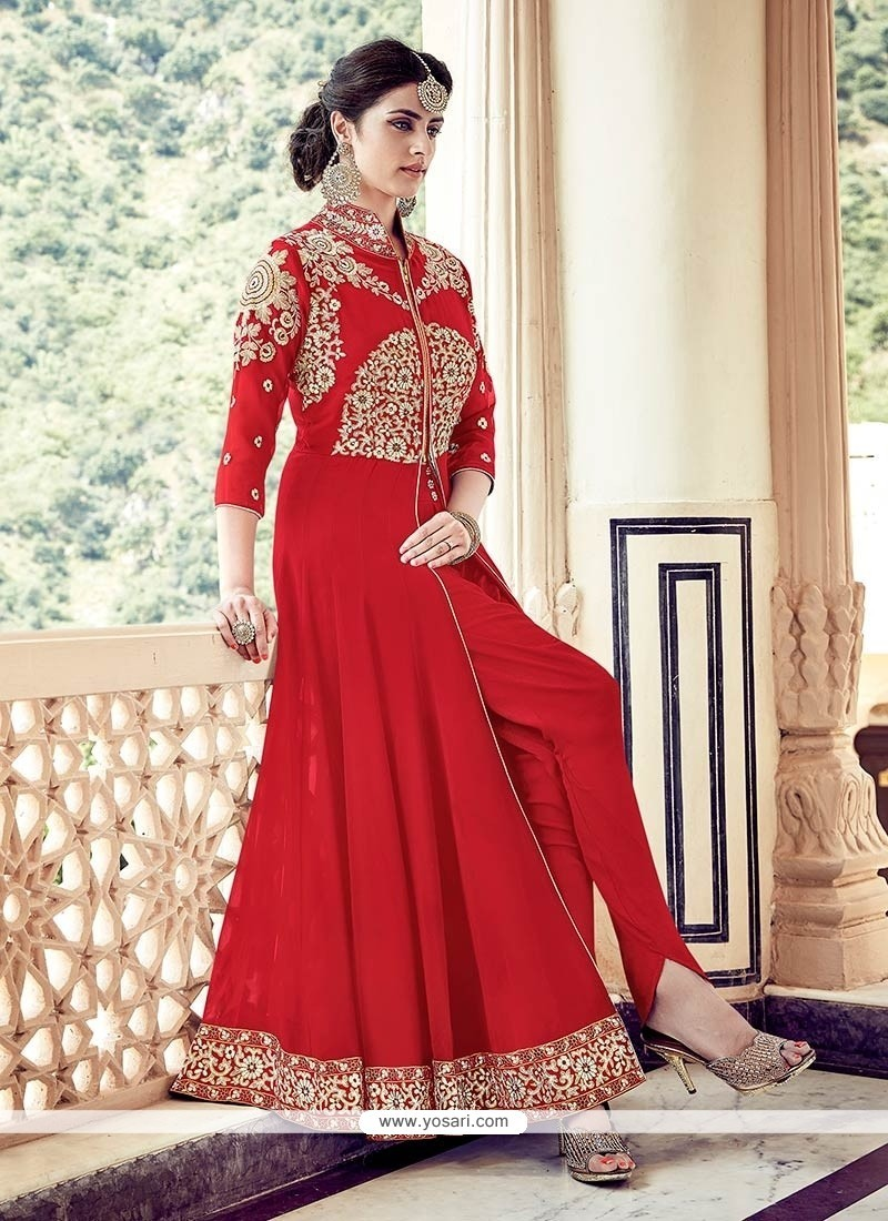 Buy Best Faux Georgette Embroidered Work Designer Floor
