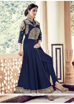 Conspicuous Navy Blue Designer Floor Length Suit