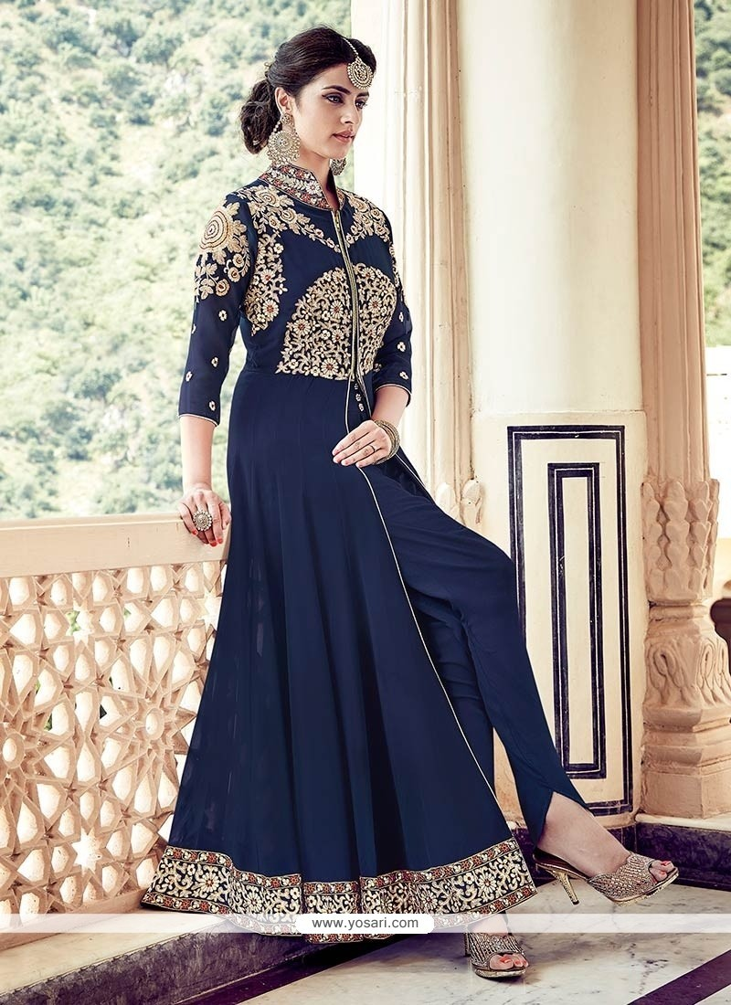 Buy conspicuous navy blue designer floor length suit for Floor length suits