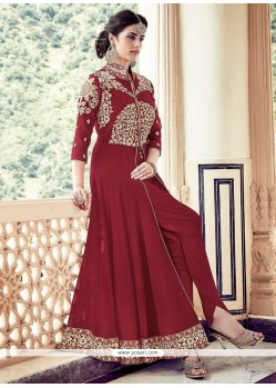 Excellent Maroon Designer Floor Length Suit