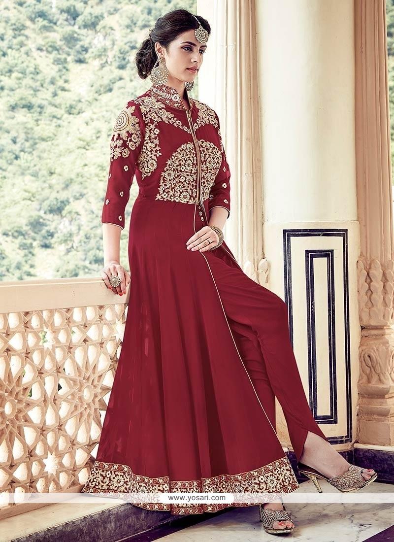 Excellent Maroon Designer Floor Length Suit