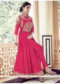 Competent Hot Pink Faux Georgette Designer Floor Length Suit