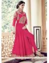 Competent Hot Pink Faux Georgette Designer Floor Length Suit