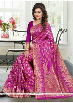 Dashing Weaving Work Magenta Banglori Silk Traditional Designer Saree