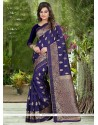 Urbane Navy Blue Banglori Silk Traditional Saree