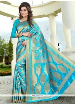 Modernistic Turquoise Banglori Silk Traditional Saree