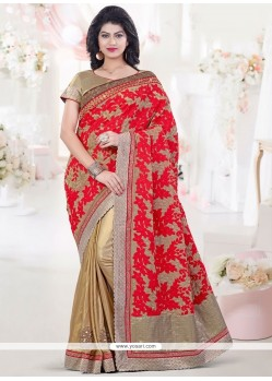 Genius Art Silk Embroidered Work Designer Half N Half Saree