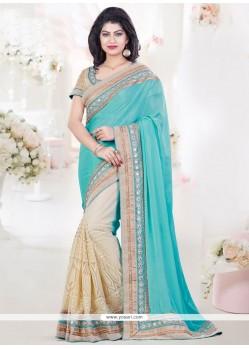 Paramount Net Beige And Turquoise Designer Half N Half Saree
