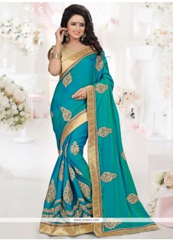 Stupendous Blue Patch Border Work Designer Traditional Saree