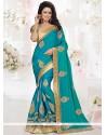 Stupendous Blue Patch Border Work Designer Traditional Saree