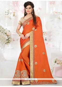 Splendid Patch Border Work Orange Art Silk Traditional Designer Saree