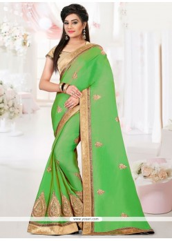 Baronial Green Patch Border Work Art Silk Traditional Saree