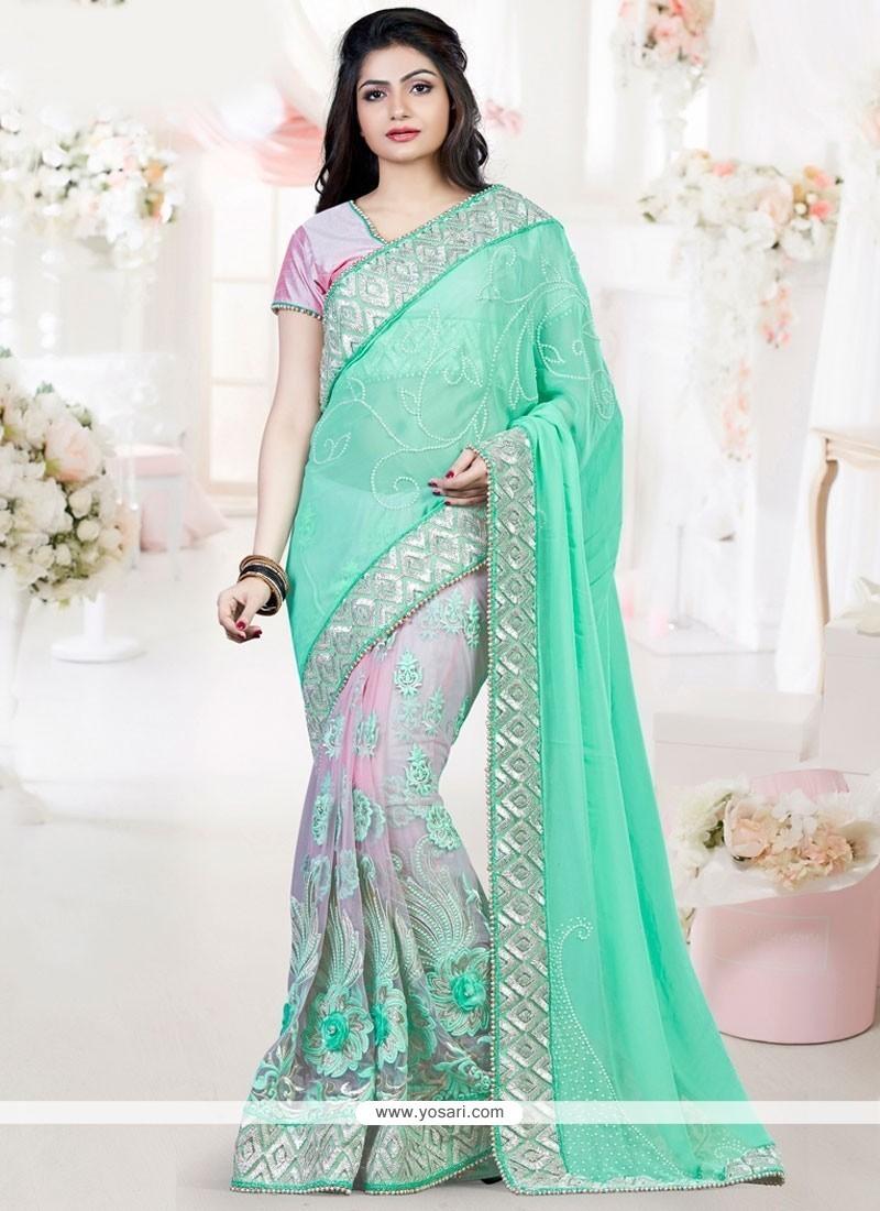 Glitzy Art Silk Embroidered Work Designer Traditional Saree