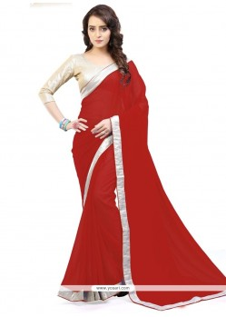 Red Lace Work Faux Georgette Casual Saree