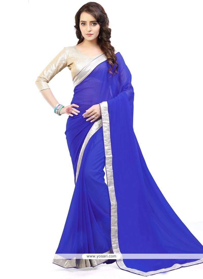 Girlish Lace Work Blue Casual Saree