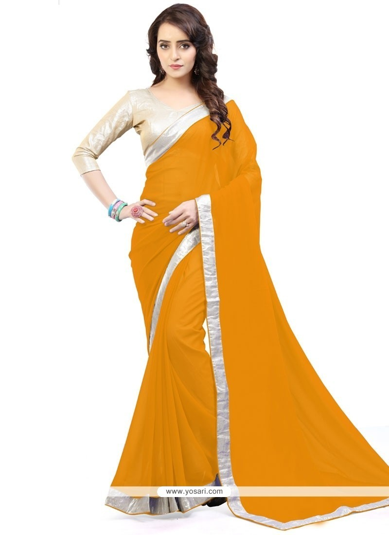 Captivating Mustard Lace Work Faux Georgette Casual Saree