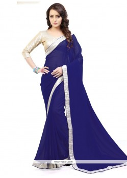 Distinctively Faux Georgette Lace Work Casual Saree