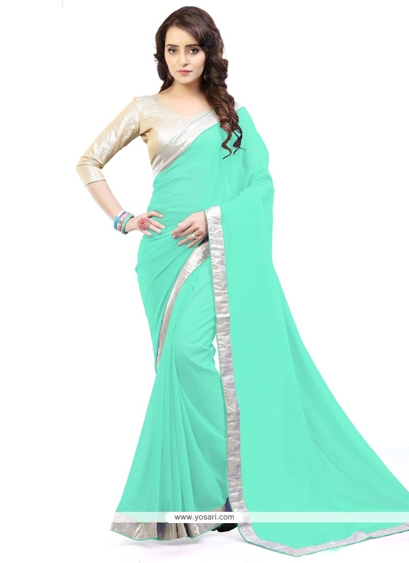 Titillating Lace Work Sea Green Casual Saree