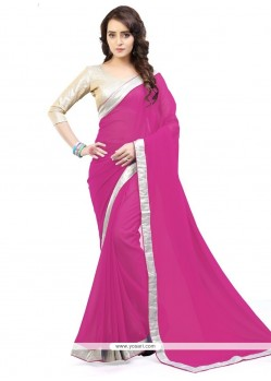 Brilliant Faux Georgette Lace Work Casual Saree