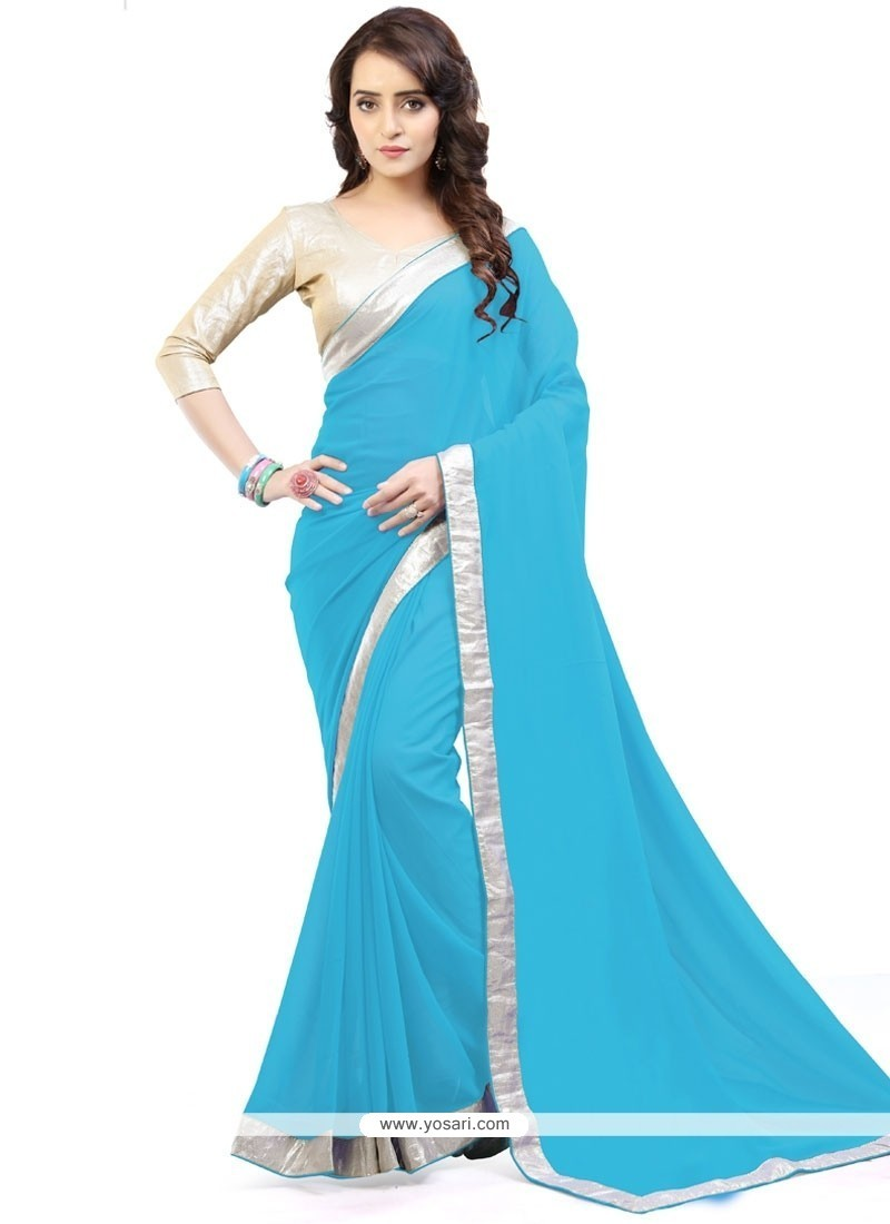Especial Turquoise Lace Work Casual Saree