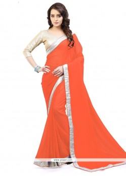 Stupendous Orange Lace Work Faux Georgette Casual Saree