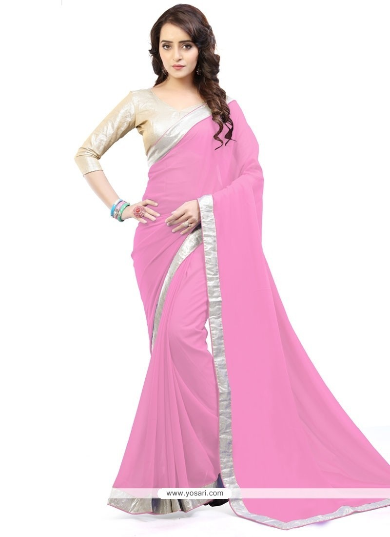 Enchanting Pink Lace Work Faux Georgette Casual Saree