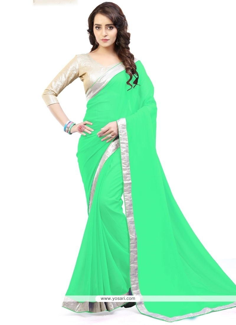 Miraculous Sea Green Lace Work Faux Georgette Casual Saree
