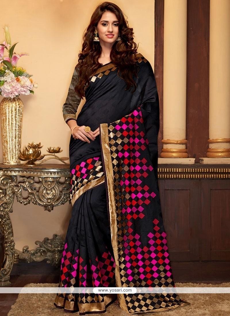 Aristocratic Cotton Silk Black Traditional Designer Saree