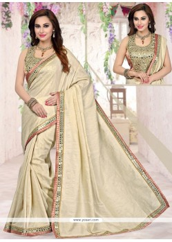 Artistic Beige Lace Work Tussar Silk Traditional Saree