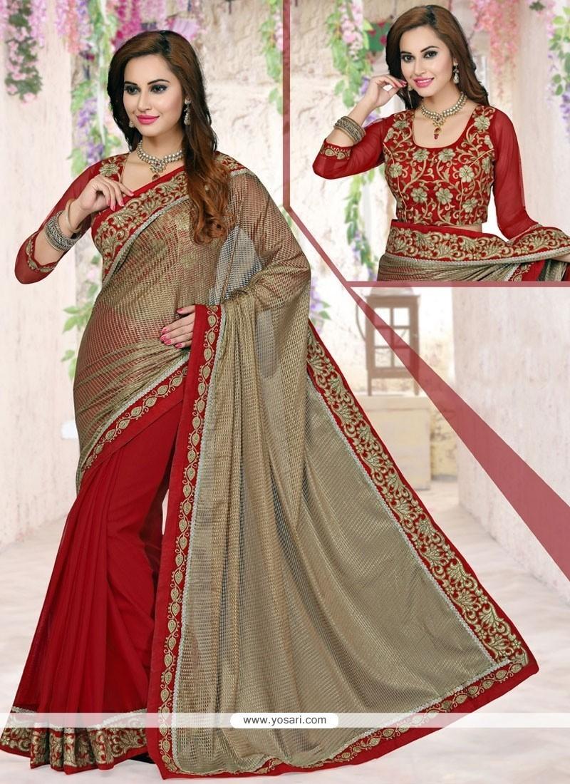 Aspiring Net Designer Half N Half Saree