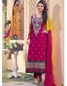Yellow And Pink Georgette Churidar Suit