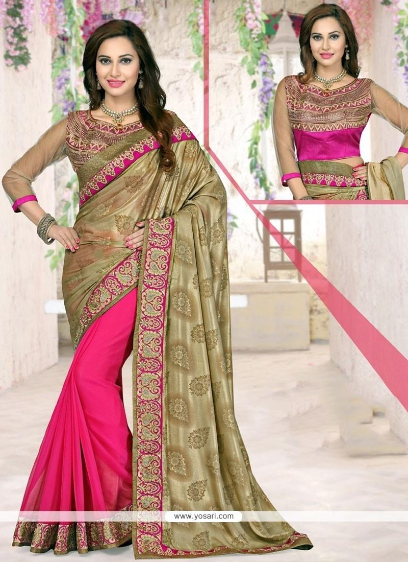Celestial Patch Border Work Hot Pink Designer Half N Half Saree