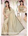 Hypnotic Lace Work Beige Traditional Designer Saree