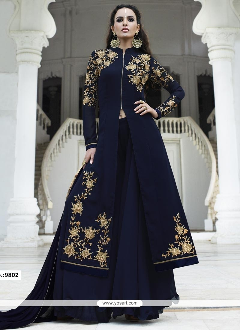 Impressive Navy Blue Embroidered Work Faux Georgette Designer Palazzo Suit