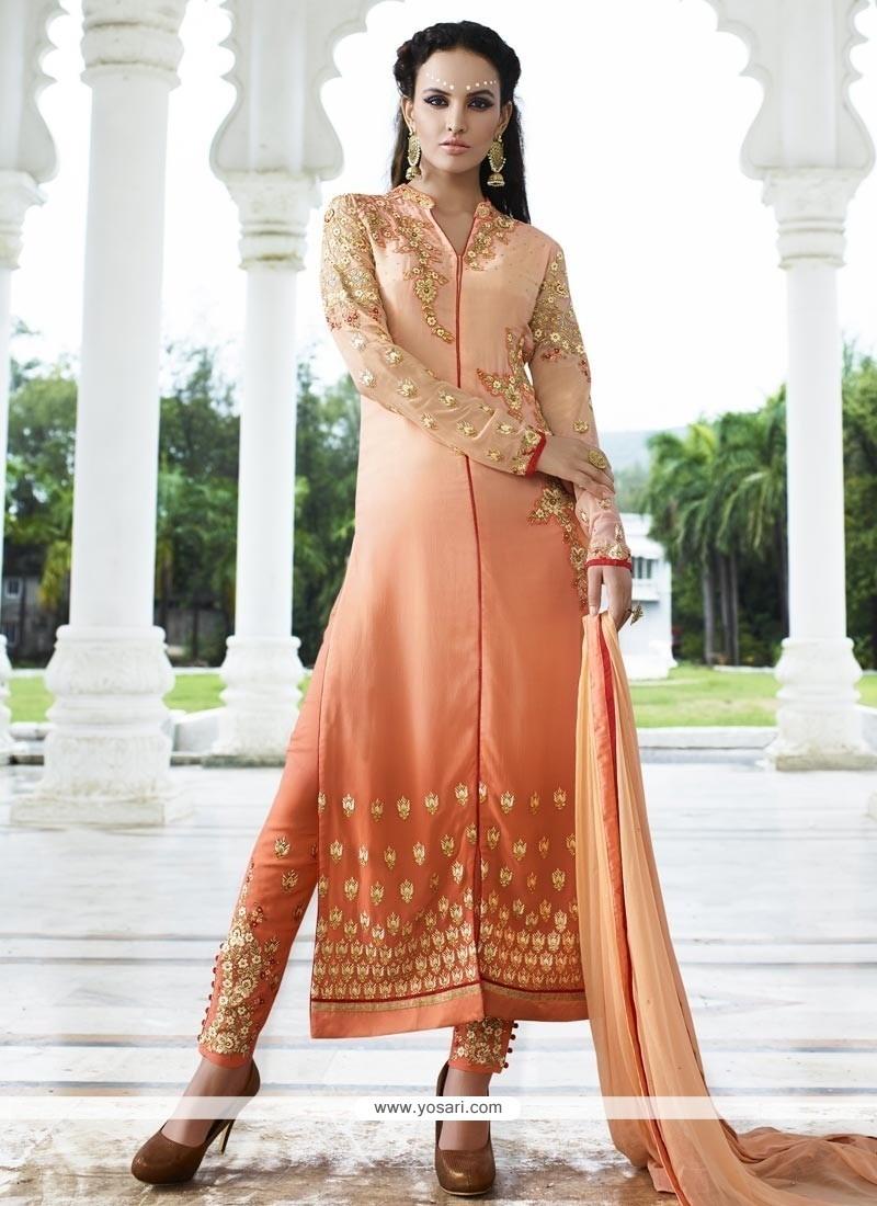 Flattering Embroidered Work Churidar Designer Suit