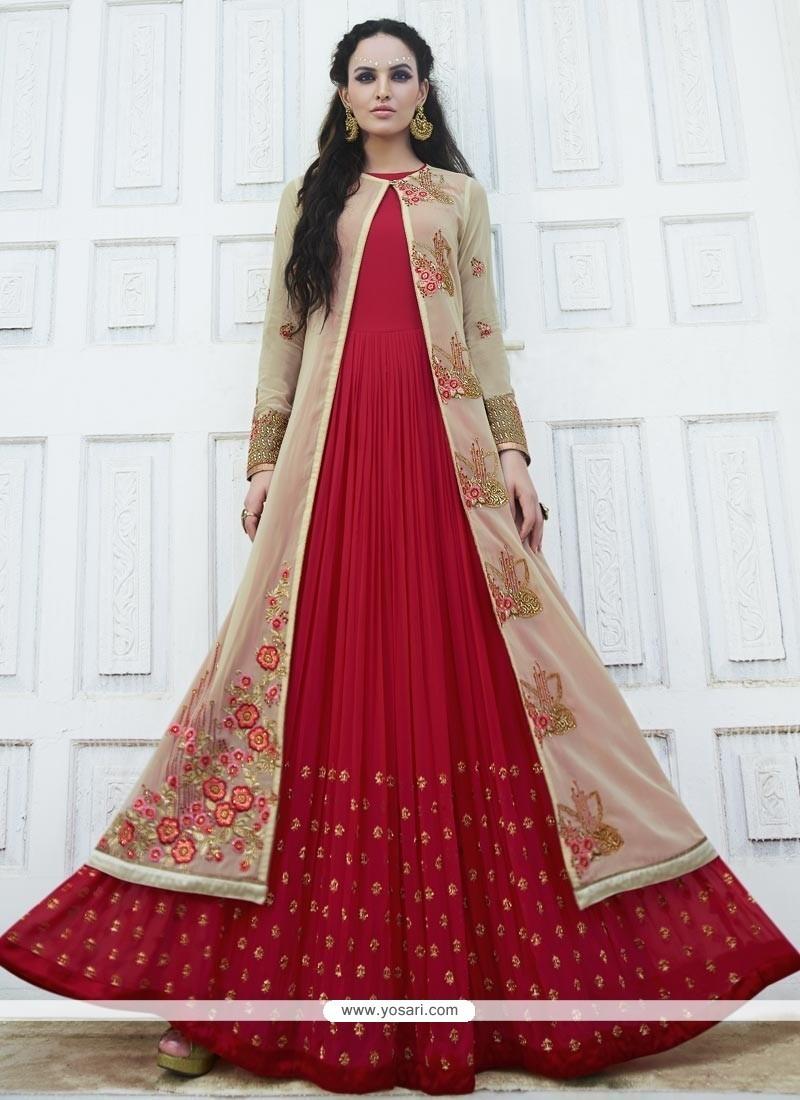 Sonorous Resham Work Faux Georgette Anarkali Salwar Kameez