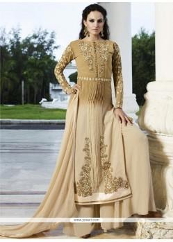 Noble Resham Work Cream Faux Georgette Designer Palazzo Salwar Suit