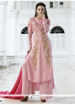 Surpassing Resham Work Faux Georgette Designer Palazzo Salwar Kameez