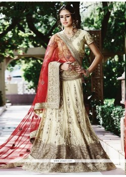 Embroidered Net Lehenga Choli In Cream