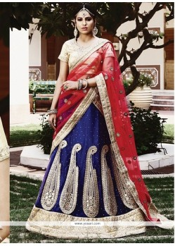Fine Blue And Red Lehenga Choli