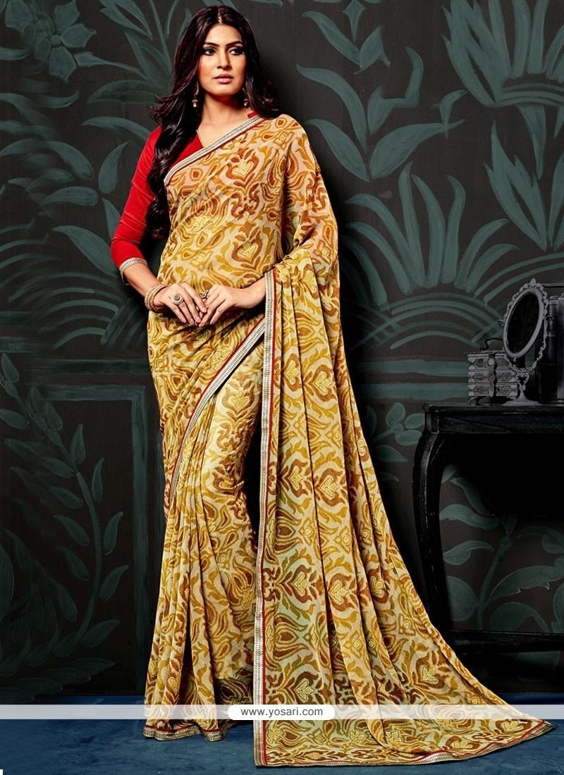 Delightsome Faux Chiffon Yellow Printed Saree