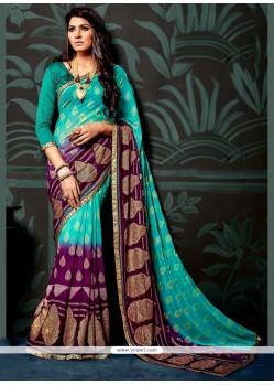 Splendid Multi Colour Lace Work Faux Chiffon Printed Saree