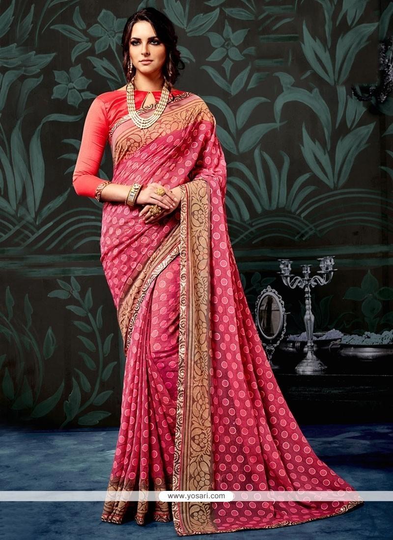 Tiptop Faux Chiffon Pink Printed Saree